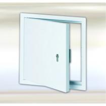 Systém B4 –Revízne dvierka z oceľového plechu, biele s profilovaným cylindrickým zámkom